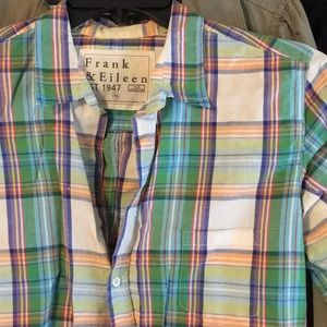 Italian Linen White and green plaid top